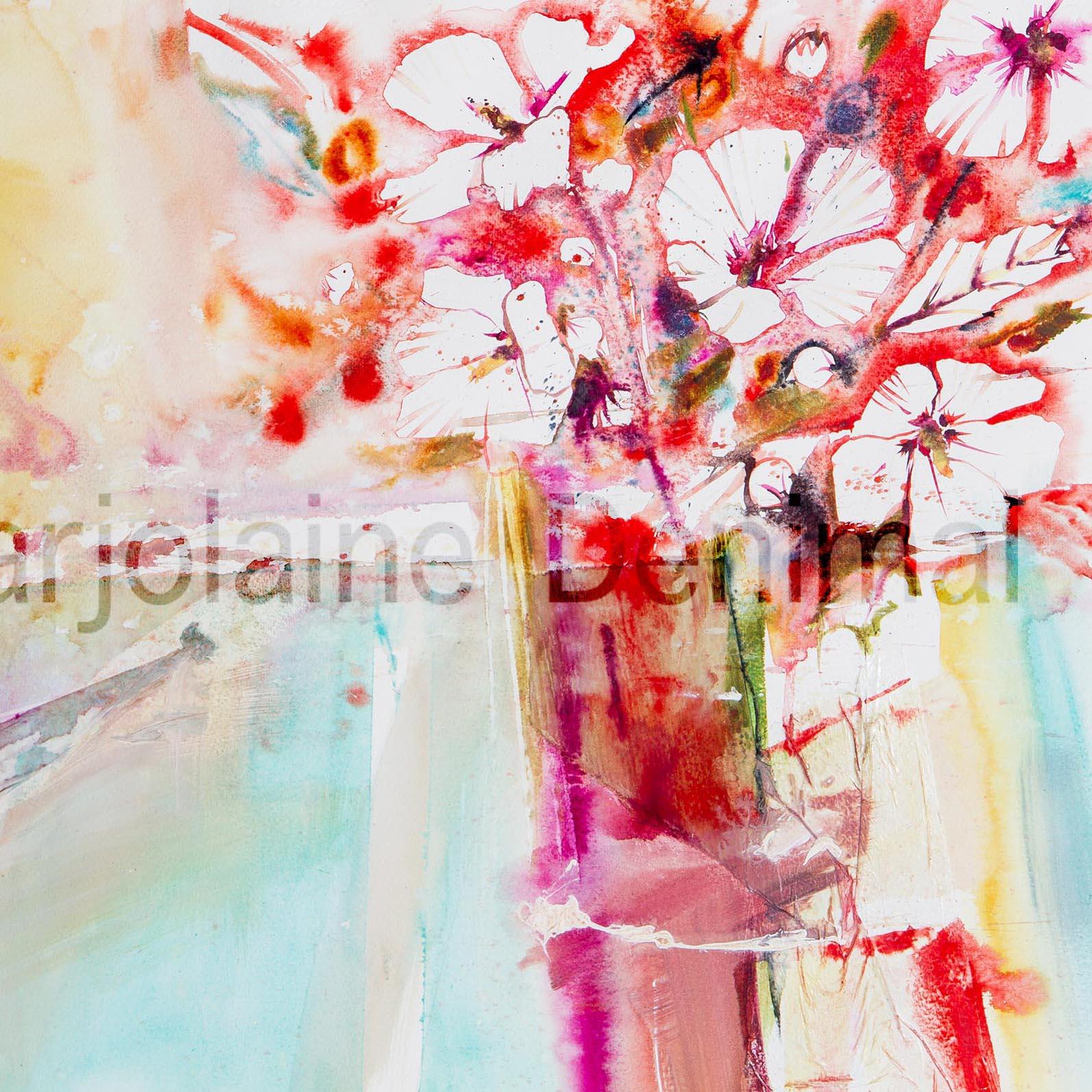 Aquarelle Bouquet de roses tremières...65x50cm
