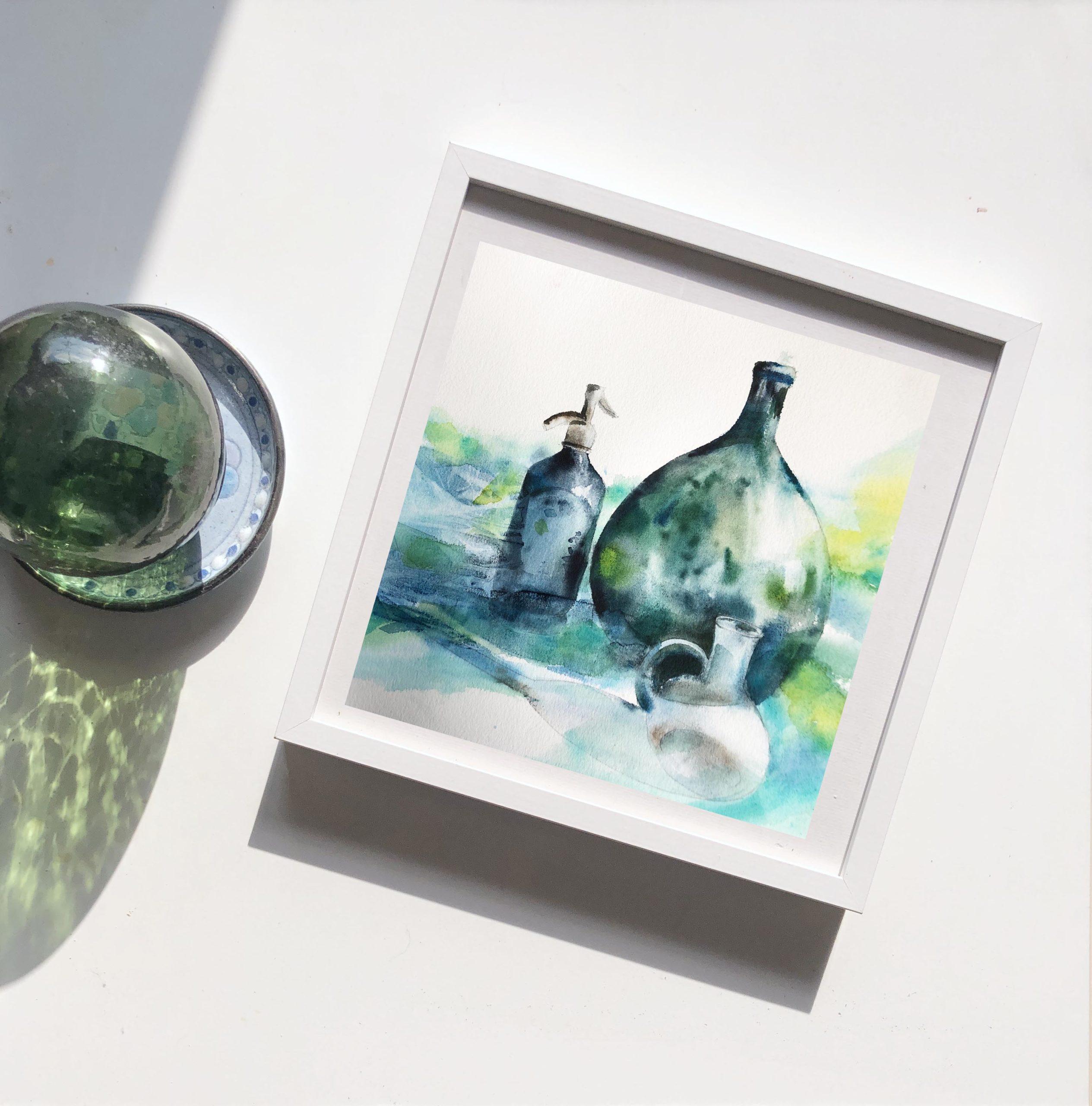 pot en verre en aquarelle