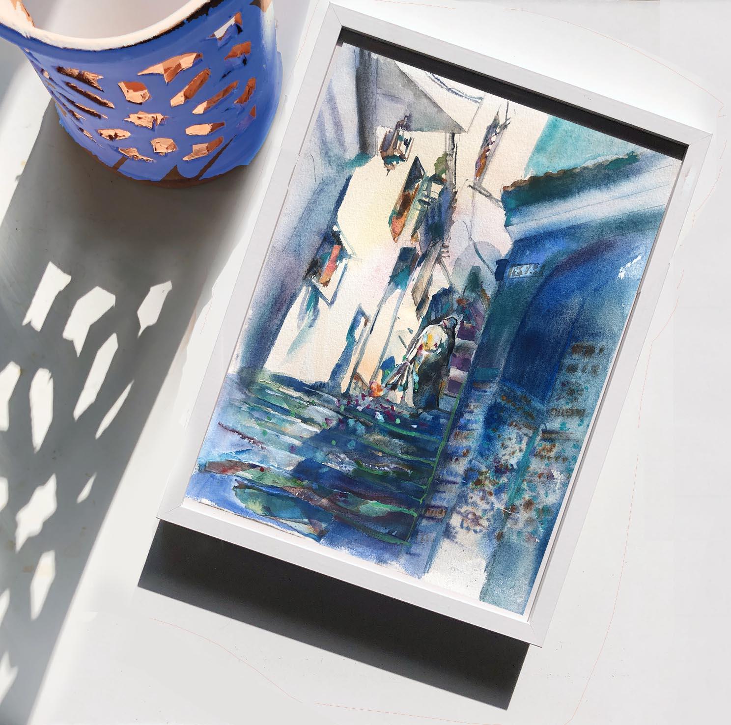 silhouette aquarelle bleue à chefchaouen