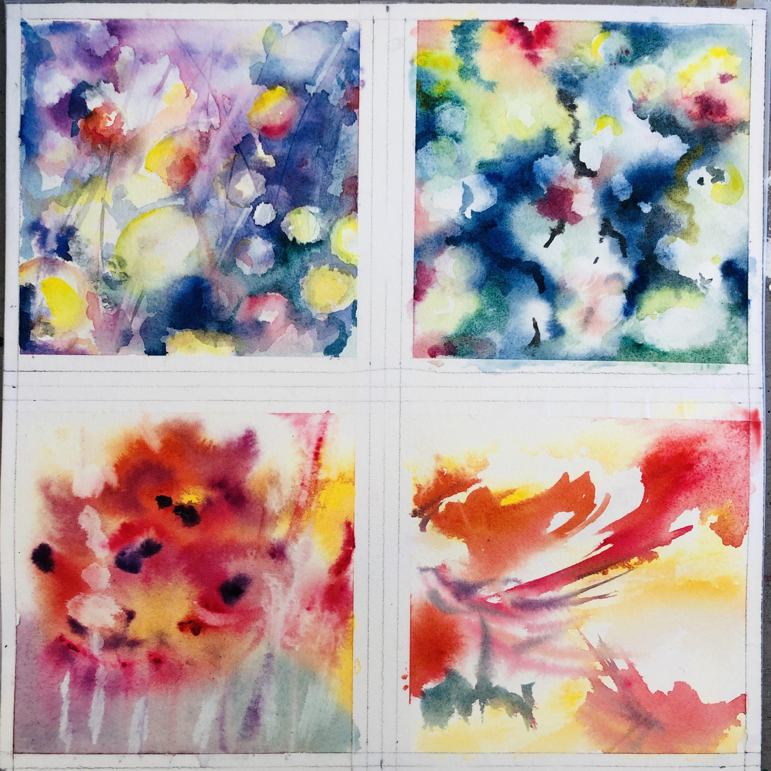 fleurs aquarelle en cours
